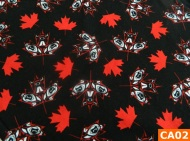 Warm Fleece Lined Winter Bandana With Canadian Maple Leaves On Black