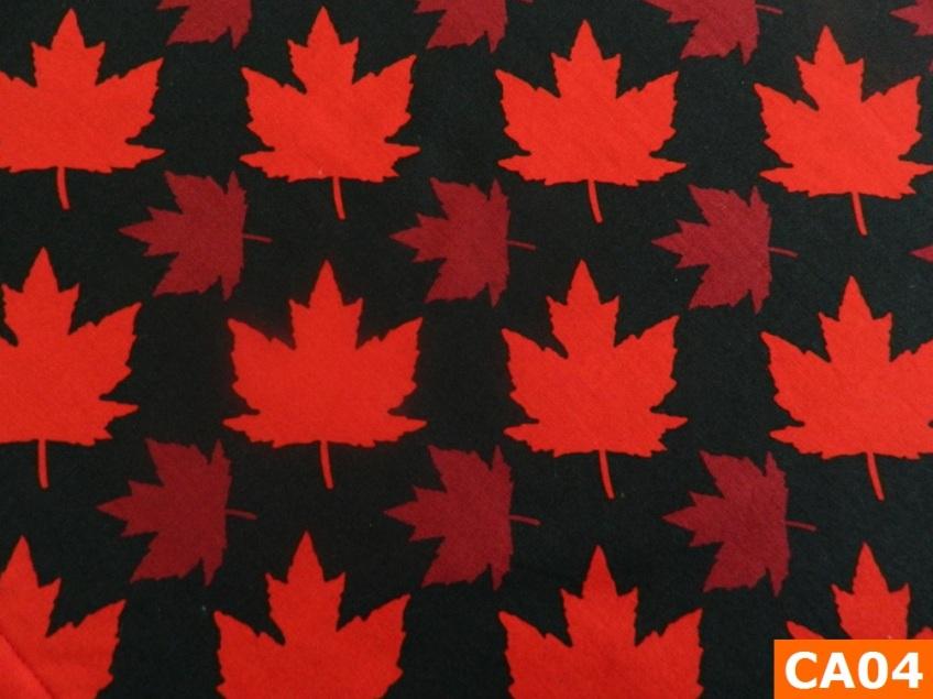 Warm Fleece Lined Winter Bandana With Maple Leaves On Black