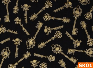 Warm Fleece Lined Winter Bandana With Skeleton Key