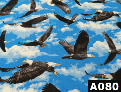 Soaring Eagles On Blue fabric 100% cotton Canadian custom made welding hats for Tradespeople who love bald eagle design PPE