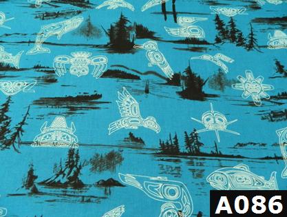 Haida Gwaii On Blue fabric 100% cotton Canadian custom made welding hats for Tradespeople who love native art designs PPE