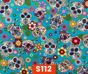 S112 Sugar Skulls On Blue Fleece Lined Fall Winter Safety Scarf Bandana To Keep Warm Safe Productive In Cold Environment Custom Made For Tradespeople Families And Friends In Cold Environment Made Perfect Gifts www.kootenayHats.com