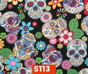 S113 Sugar Skulls On Black Fleece Lined Fall Winter Safety Scarf Bandana To Keep Warm Safe Productive In Cold Environment Custom Made For Tradespeople Families And Friends In Cold Environment Made Perfect Gifts www.kootenayHats.com